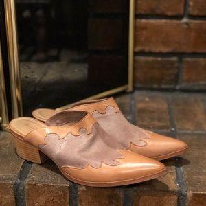 Sundance Tan Leather Slip On Clog Mules